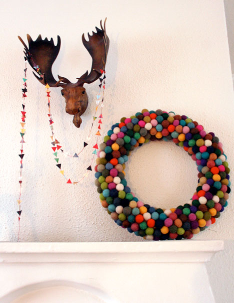 Felted ball wreath and triangle garland