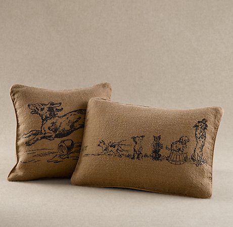 Restoration Hardware dog print pillow