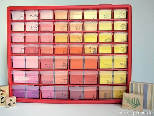 Stamp-storage-idea-ombre-paint-chip-tool-chest